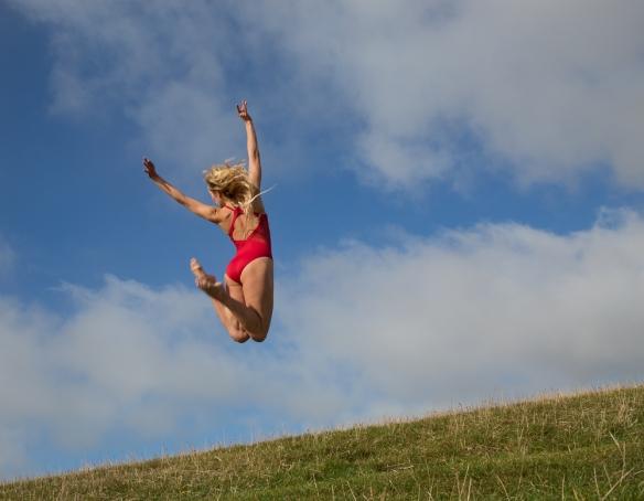 Dancer jumping for joy